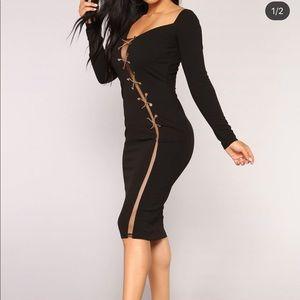 Long sleeve split body con Dress size S